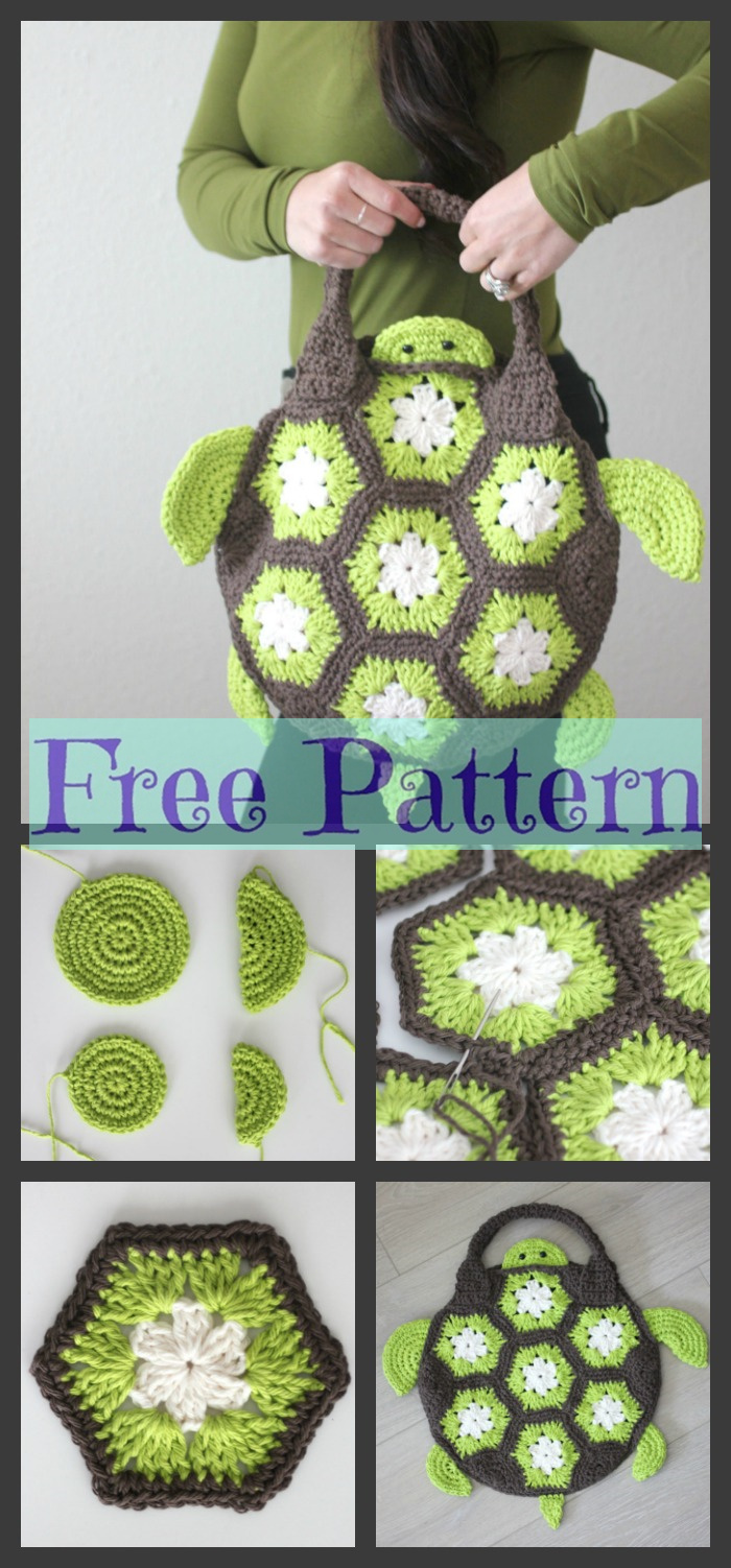 diy4ever-Crochet Sea Turtle Tote - Free Pattern