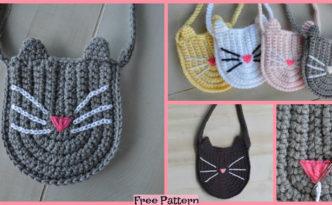 diy4ever-Cute Crochet Kitty Bag - Free Pattern