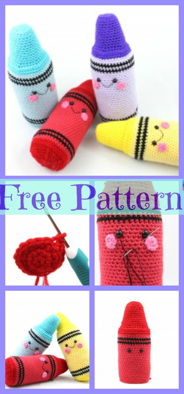 diy4ever-.Crochet Crayons Amigurumi - Free Pattern