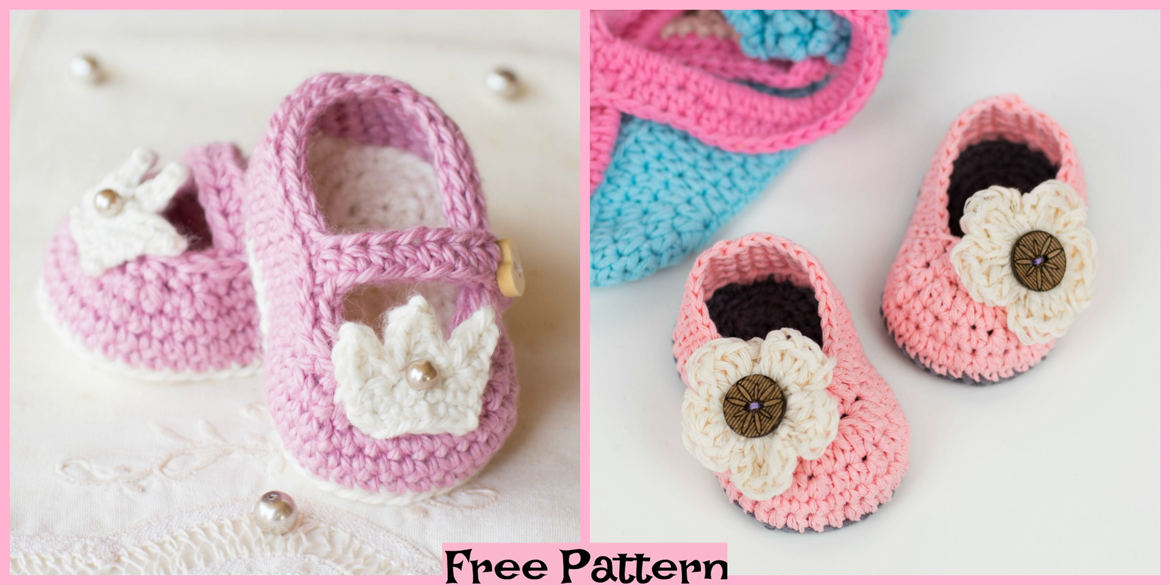 Sweet Crochet Baby Booties – Free Patterns