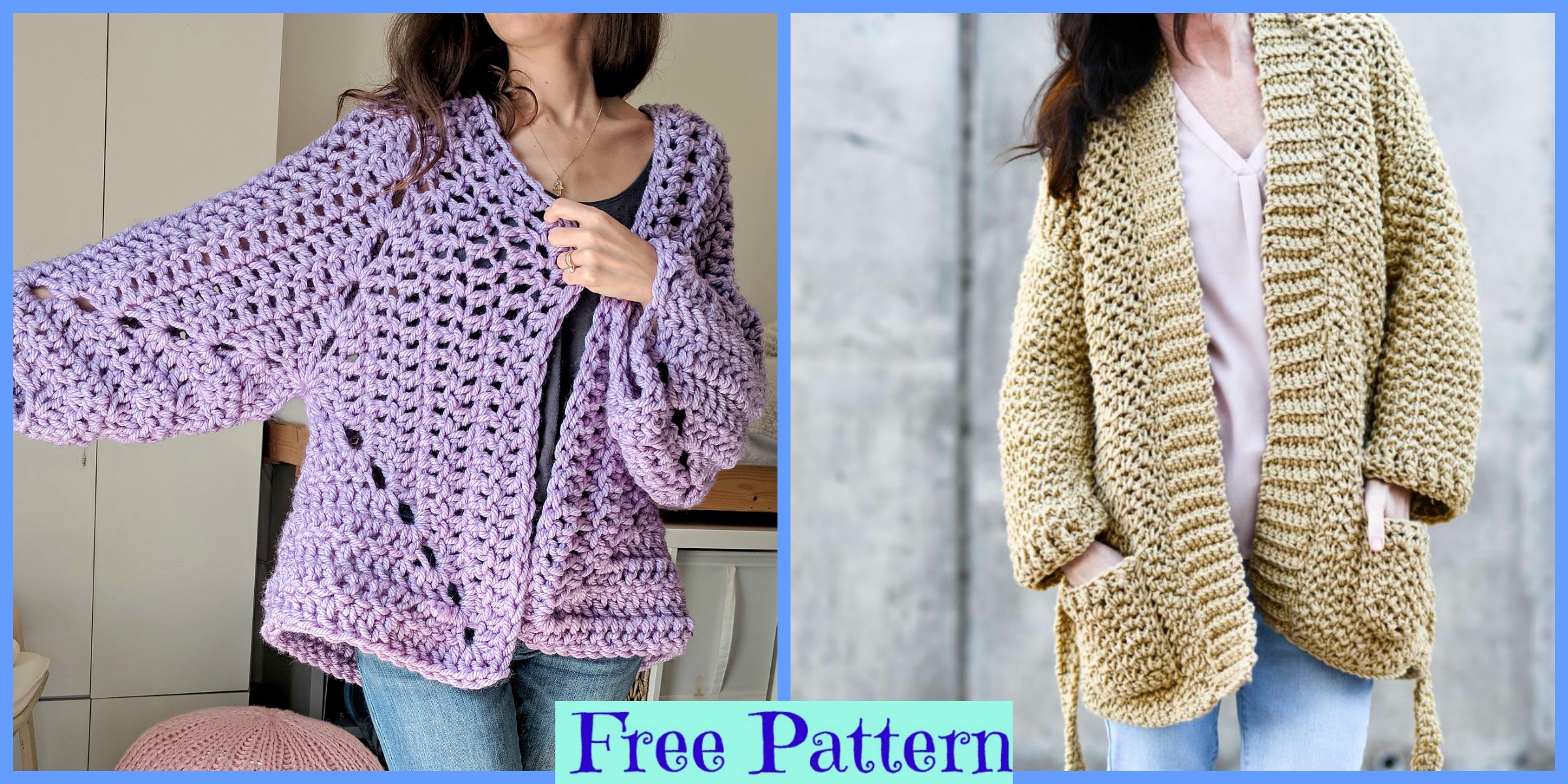 Crochet Chunky Cardigans – Free Patterns