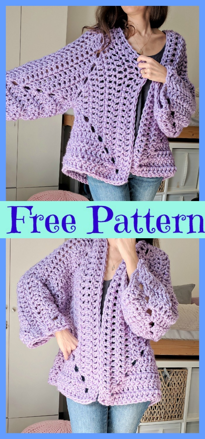 diy4ever-Crochet Chunky Cardigans - Free Patterns