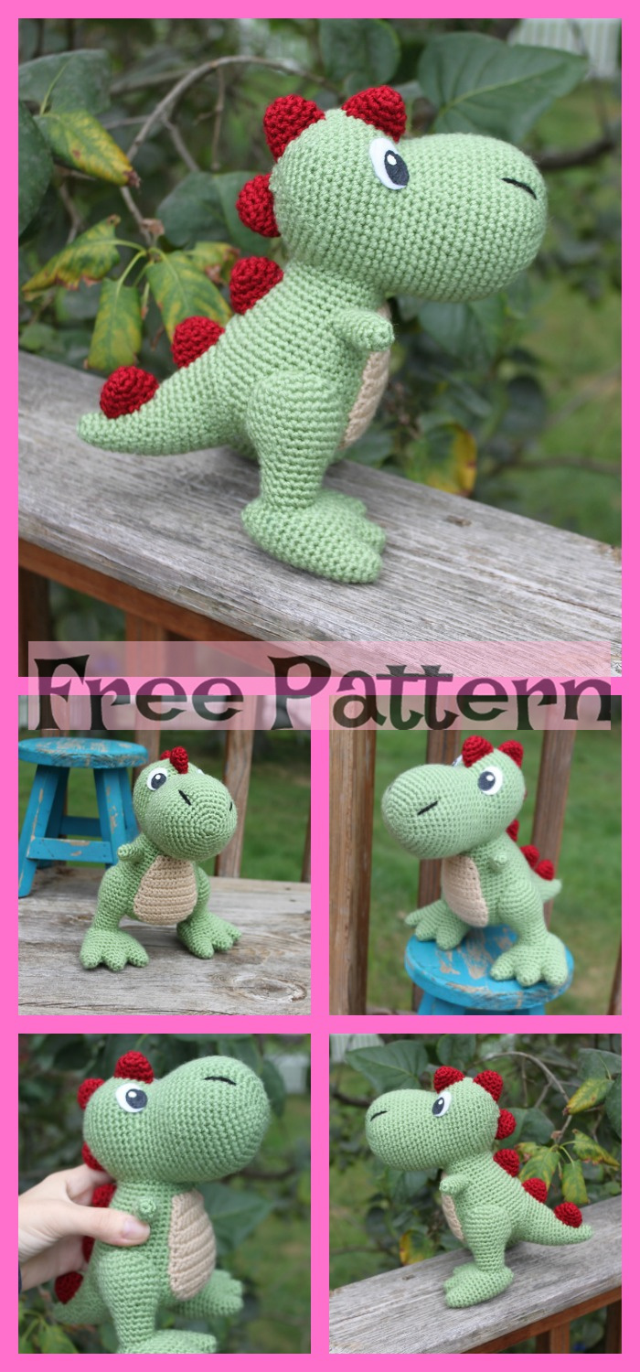 diy4ever-Crochet Dinosaur Softie - Free Patterns