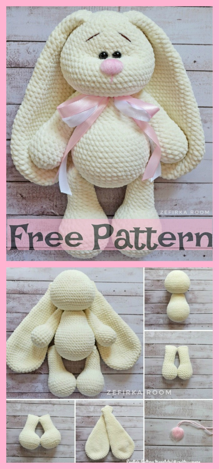 diy4ever-Crochet Flappy Ear Bunny - Free Patterns