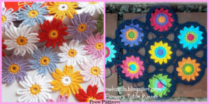 diy4ever-Crochet Flower Motif Table Runner - Free Pattern