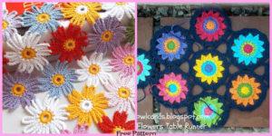 diy4ever-Crochet Flower Motif Table Runner - Free Pattern