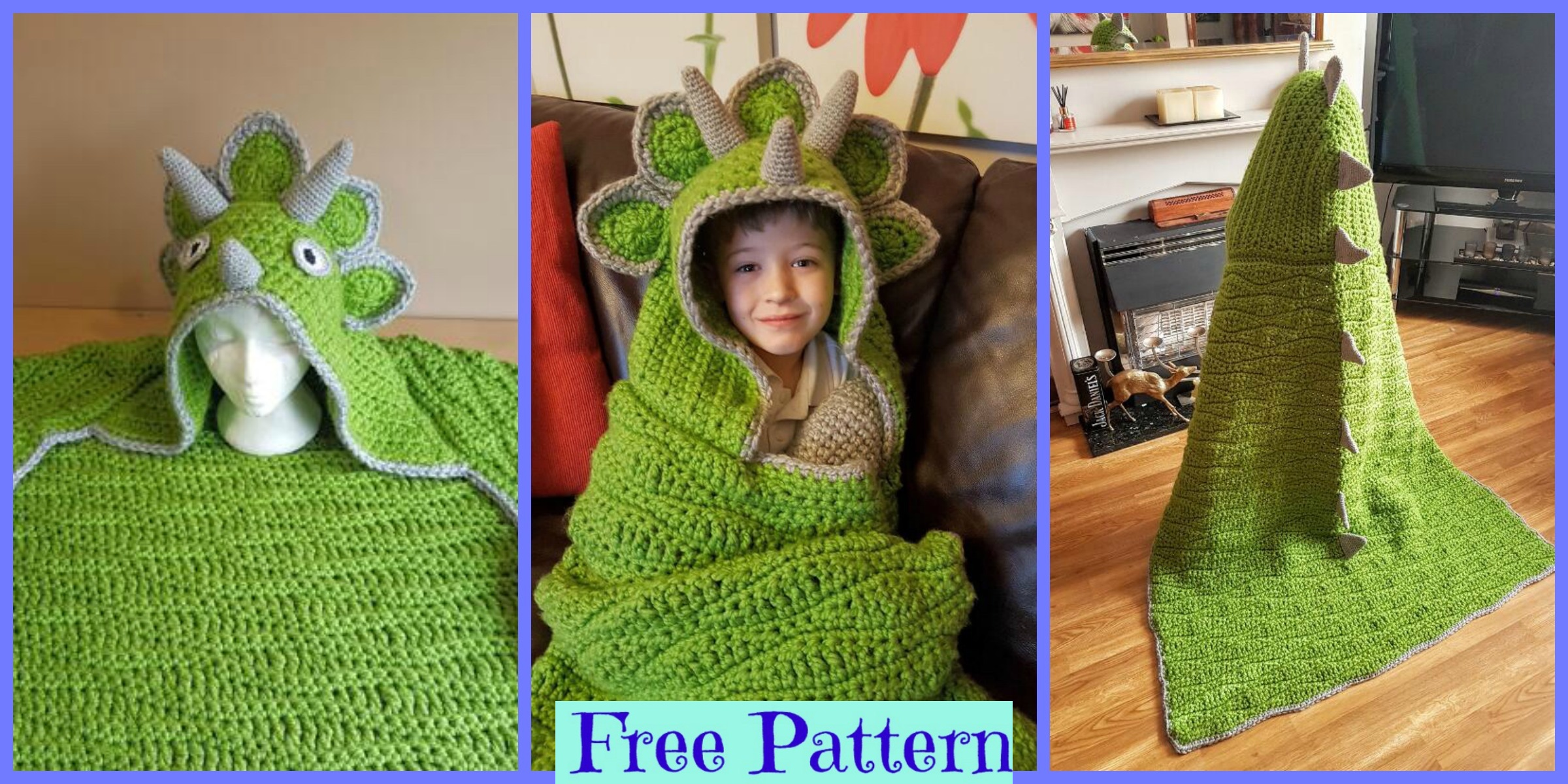 Crochet Hooded Dinosaur Blanket – Free Pattern
