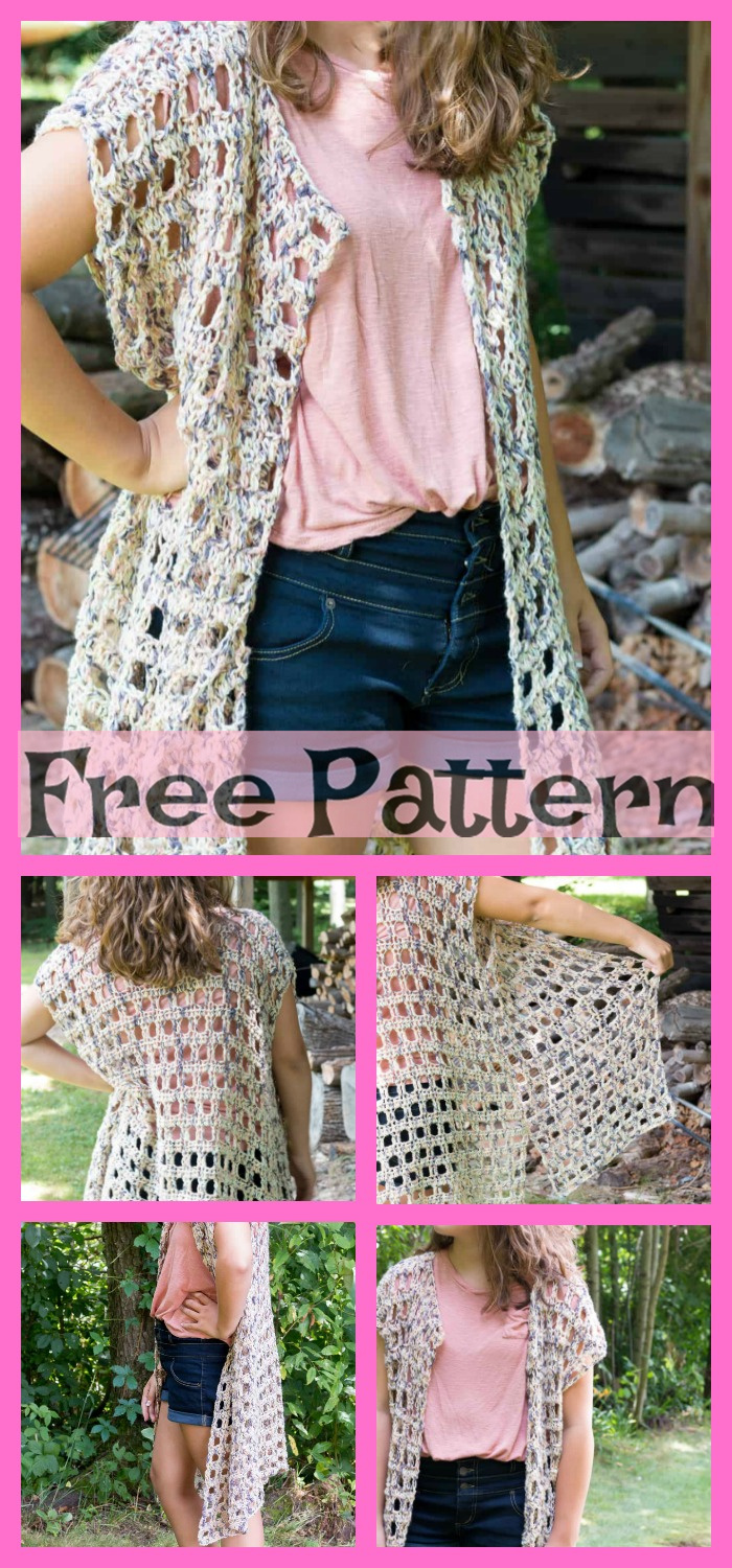 diy4ever-Crochet Long Vest - Free Patterns
