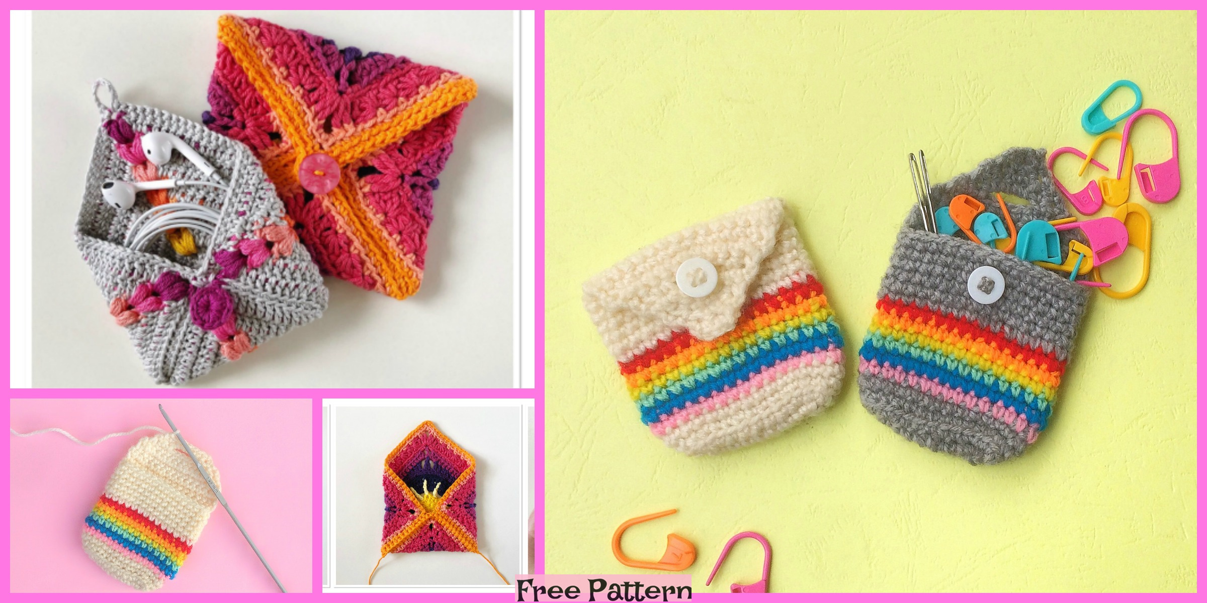Crochet Pocket Pouches – Free Patterns