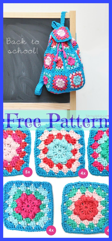 diy4ever-Crochet School Backpack - Free Patterns