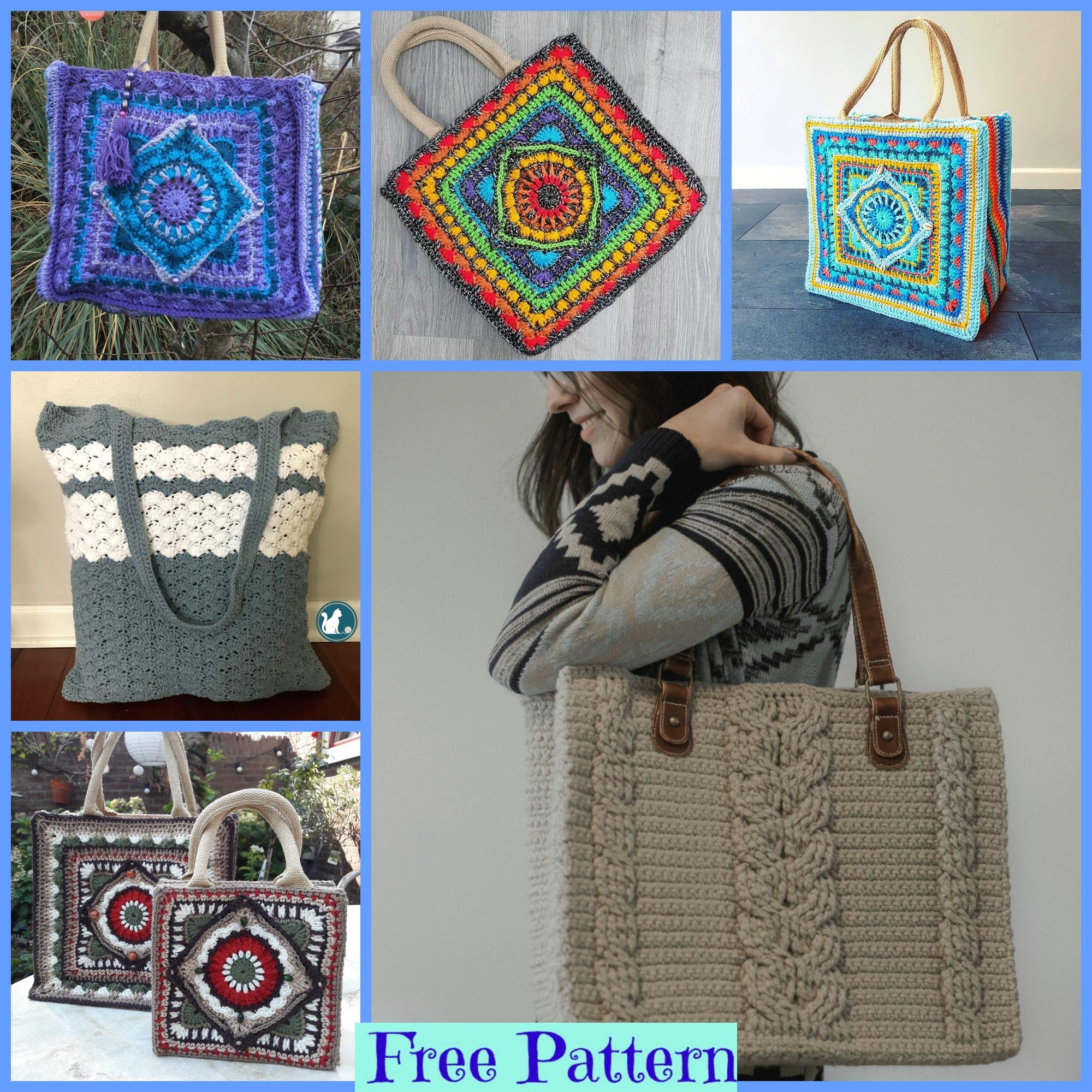 diy4ever-Crochet Unique Tote Bags - Free Patterns