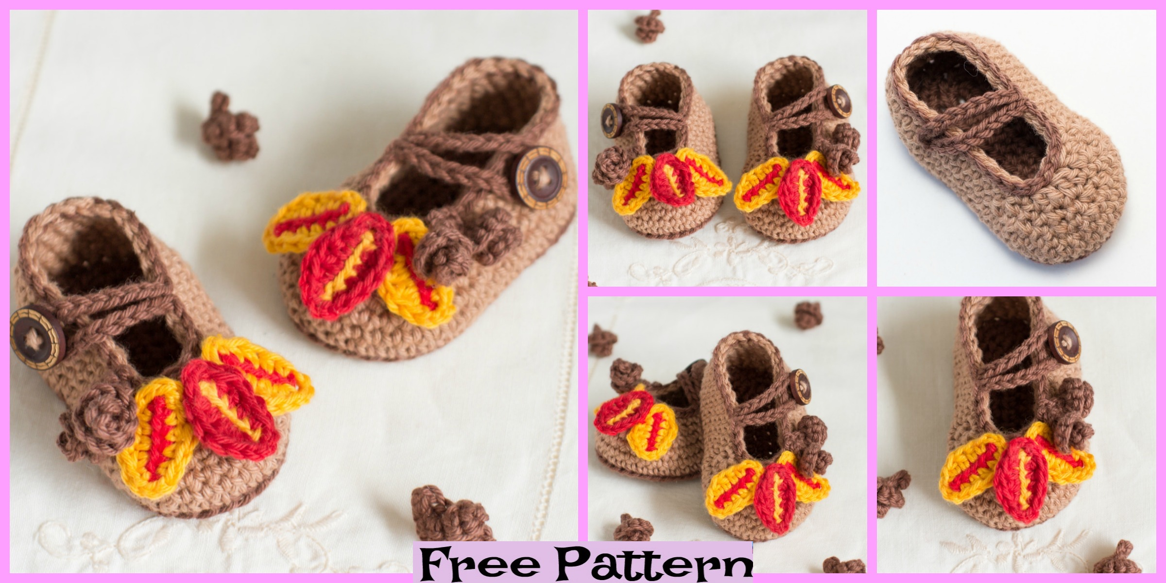 Crochet Autumn Oak Baby Booties – Free Pattern