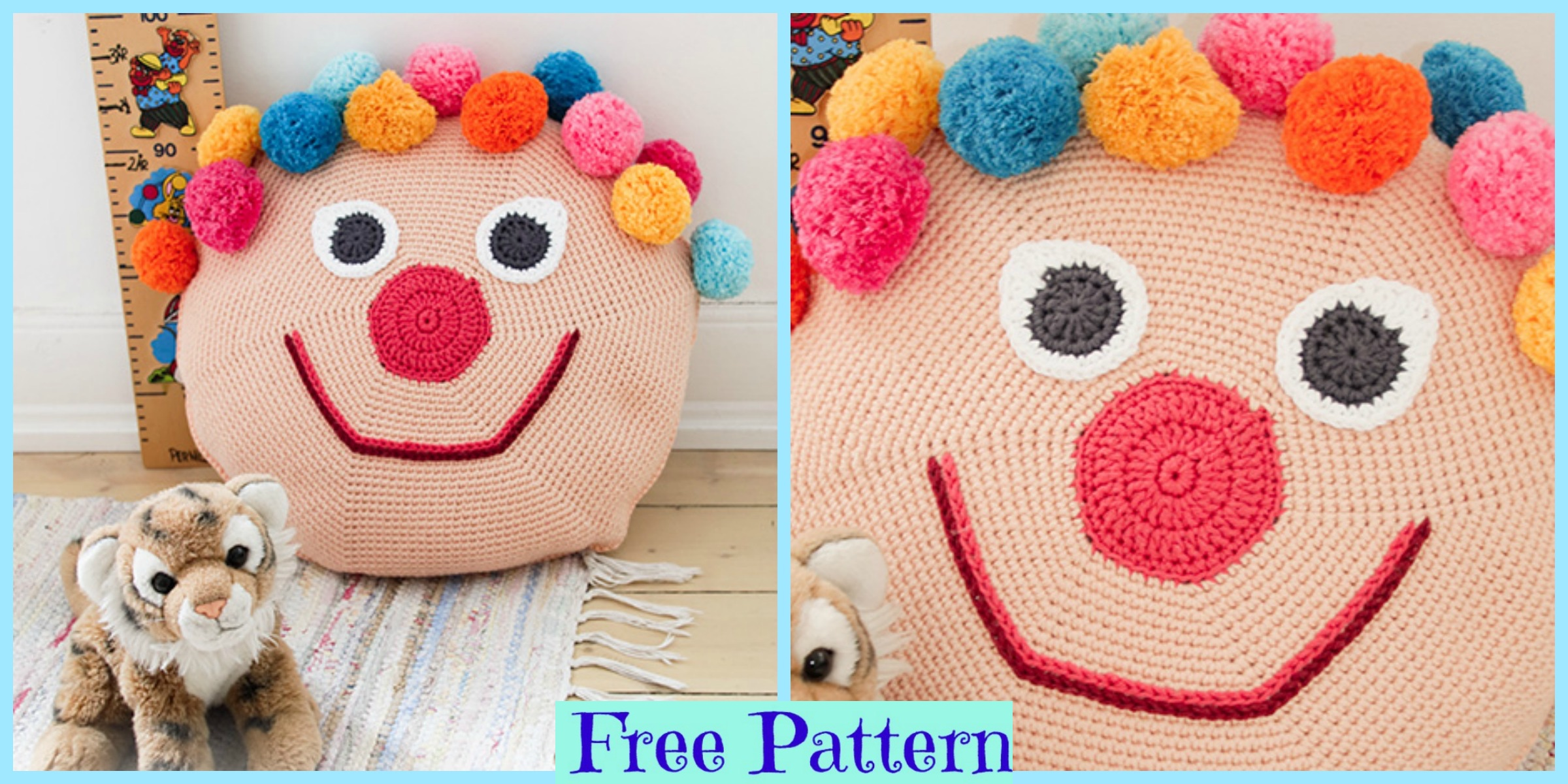 Crochet Bongo the Clown Pillow – Free Pattern