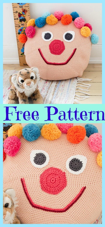 diy4ever-Crochet Bongo the Clown Pillow - Free Pattern