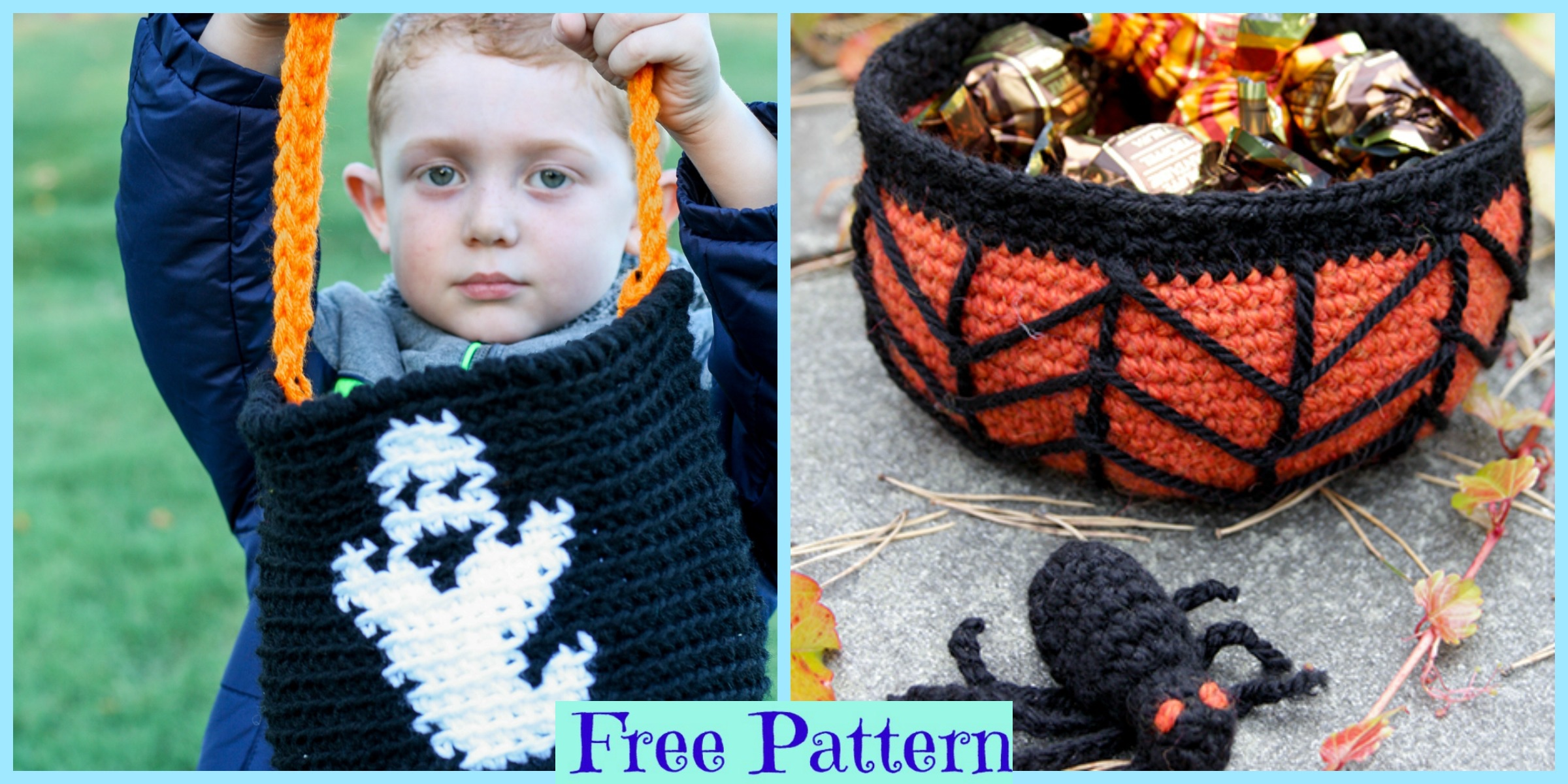 Halloween Crochet Candy Basket – Free Patterns