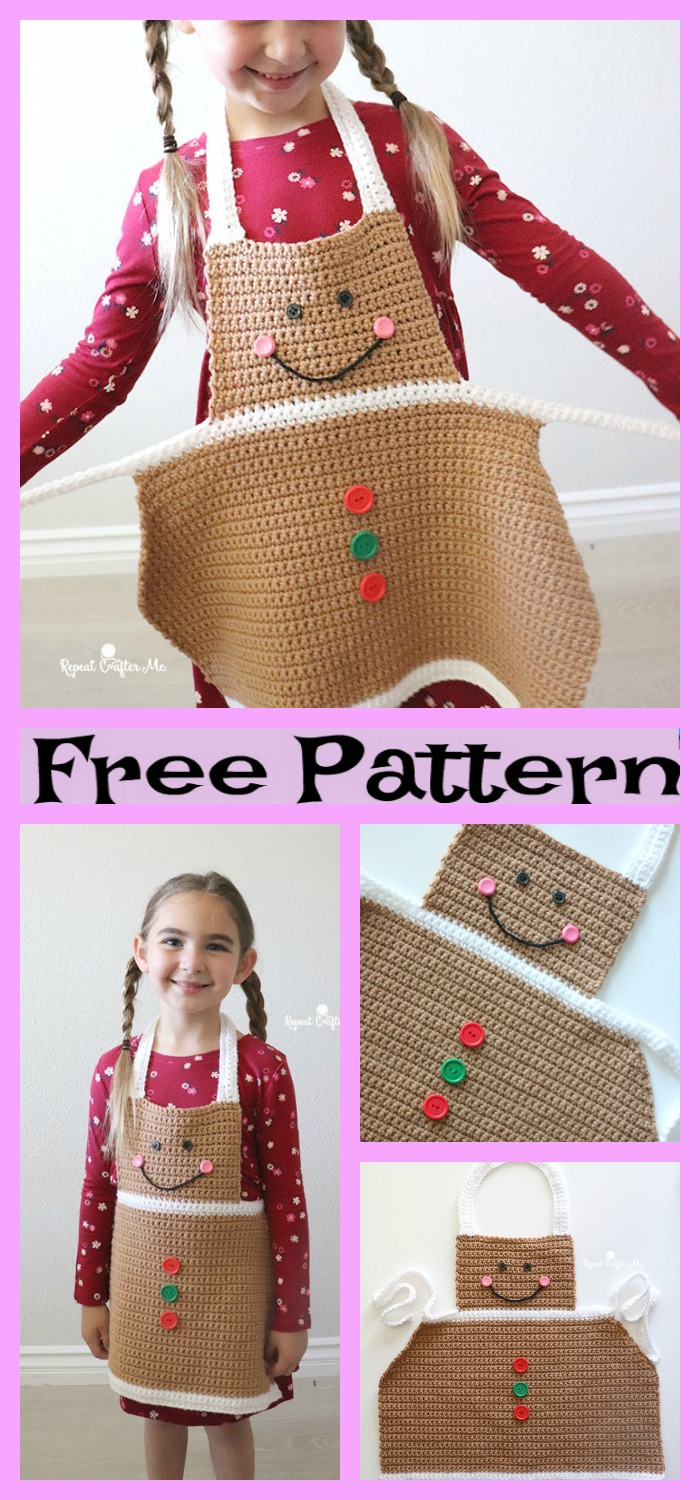 diy4ever-Crochet Christmas Aprons - Free Patterns