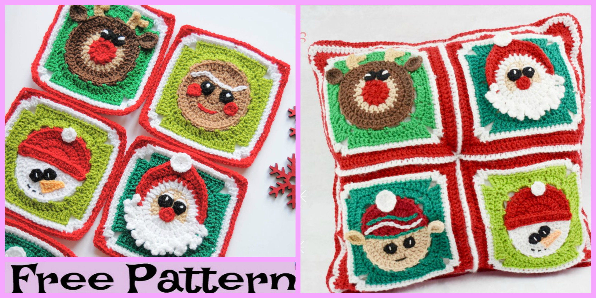 Crochet Christmas Granny Squares – Free Pattern