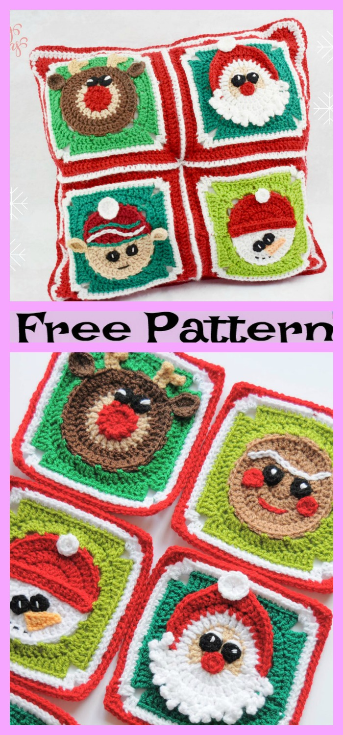 diy4ever-Crochet Christmas Granny Squares - Free Pattern