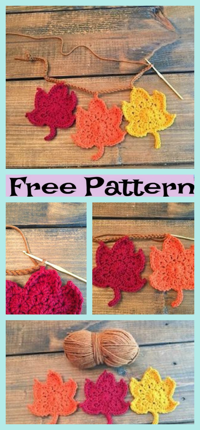 diy4ever-Crochet Fall Leaves - Free Patterns