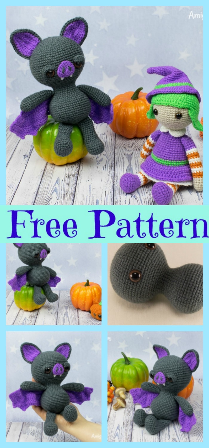 diy4ever-Crochet Halloween Bat Amigurumi - Free Patterns