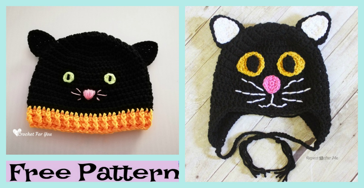Crochet Halloween Black Cat Hat – Free Pattern