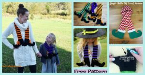 diy4ever-Crochet Halloween Witch Legs Scarf - Free Pattern
