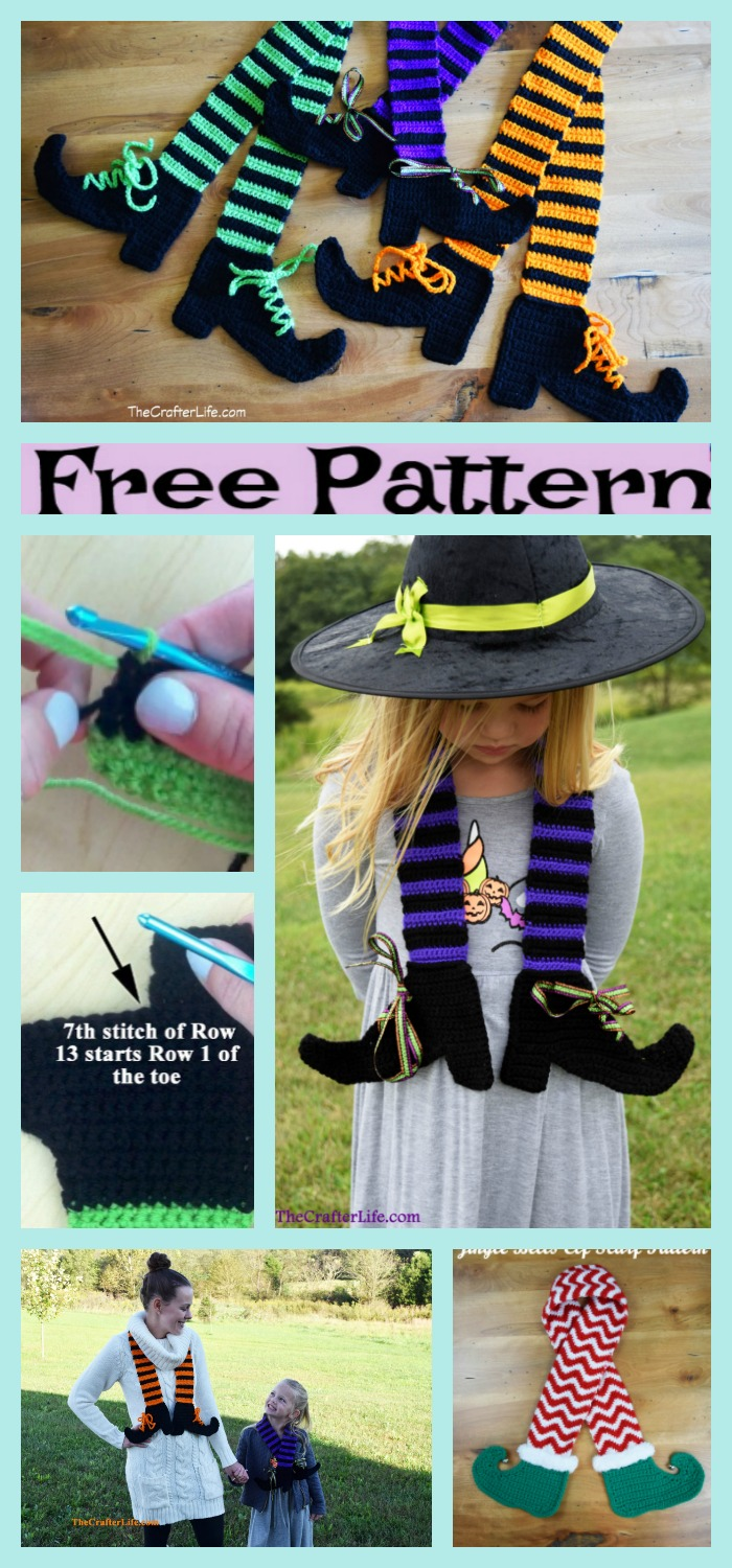 diy4ever-Crochet Halloween Witch Legs Scarf - Free Pattern