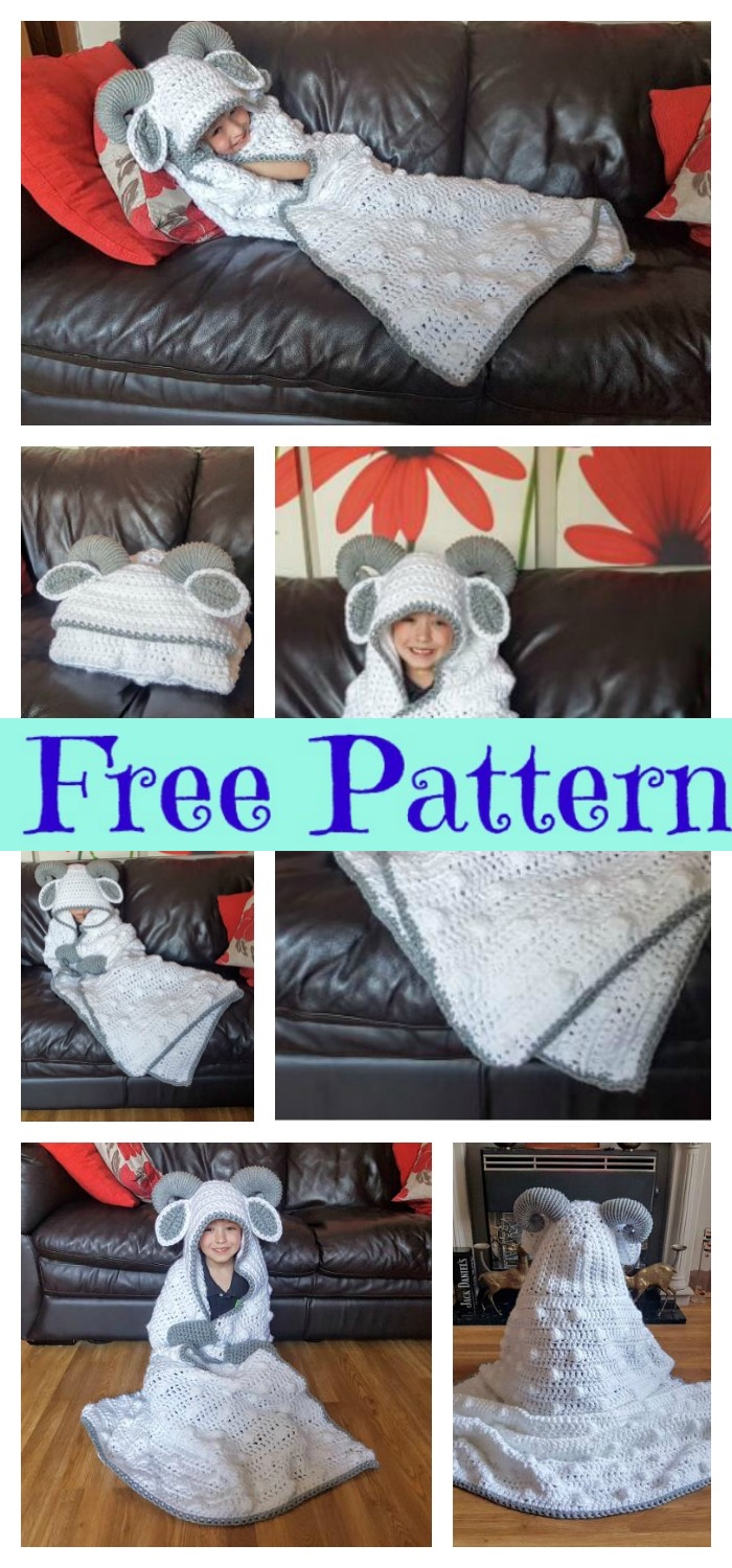 diy4ever-Crochet Hooded Sheep Blanket - Free Pattern