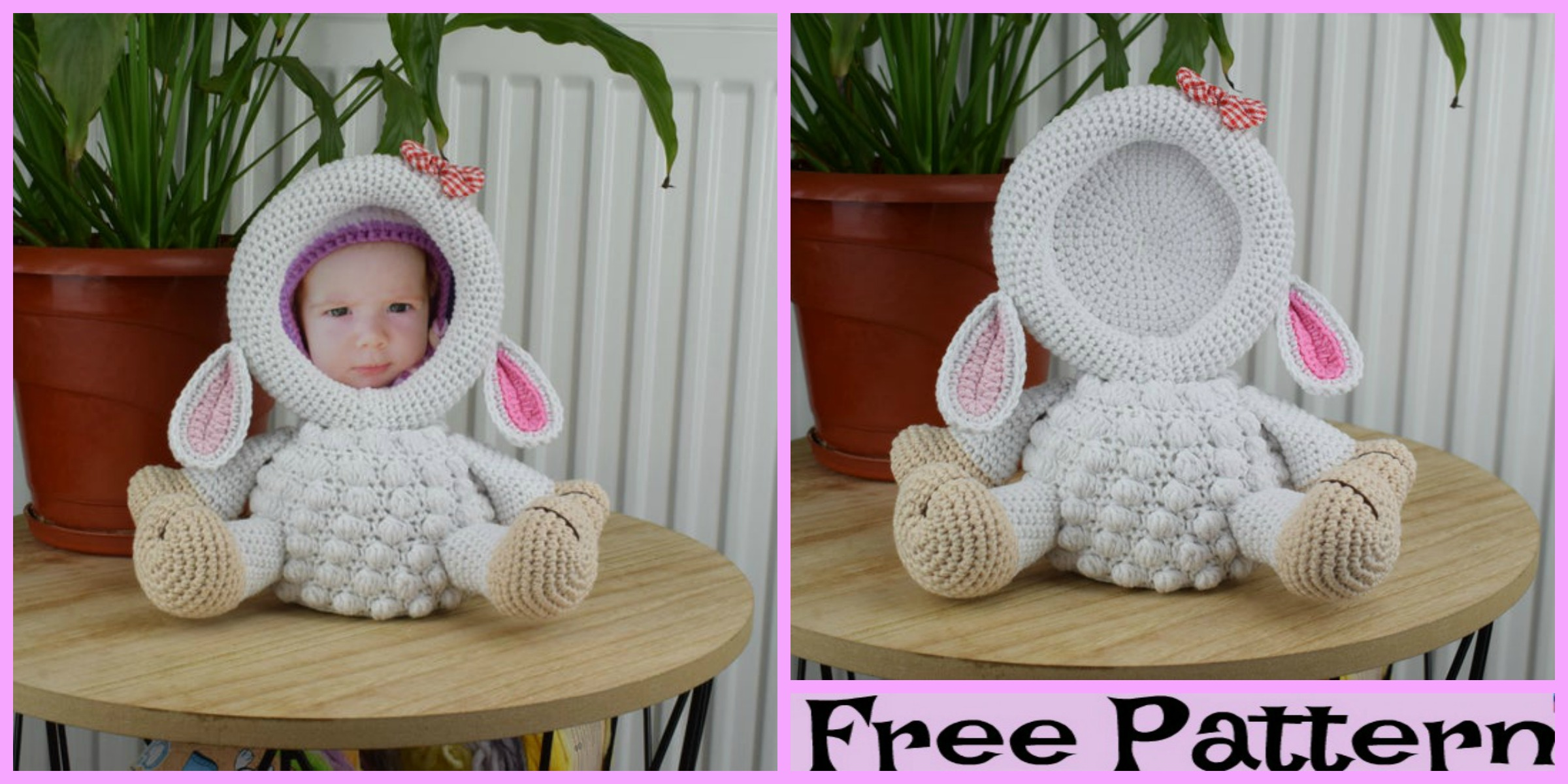Crochet Lamb Photo Frame – Free Pattern
