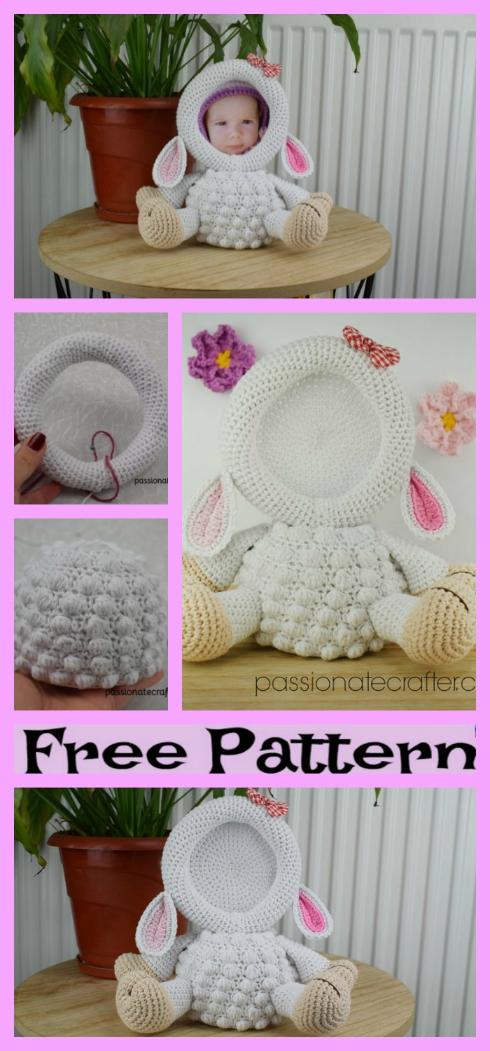 diy4ever-Crochet Lamb Photo Frame - Free Pattern