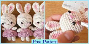 diy4ever-Crochet Little Bunnies Wearing Dresses - Free Pattern
