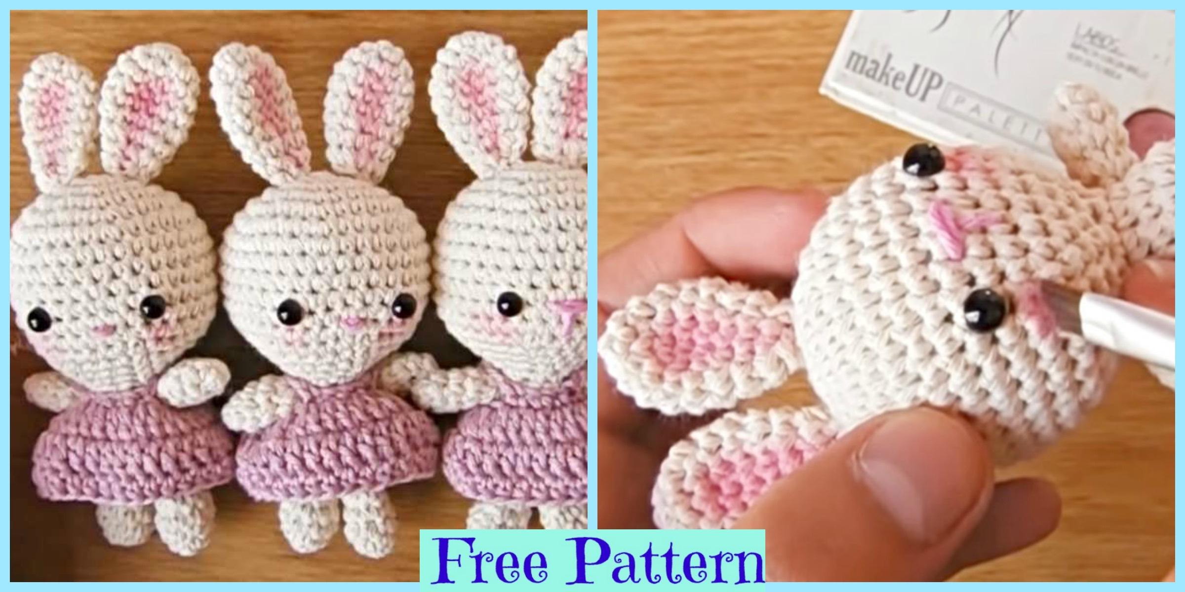 Crochet Little Bunnies Wearing Dresses – Free Pattern