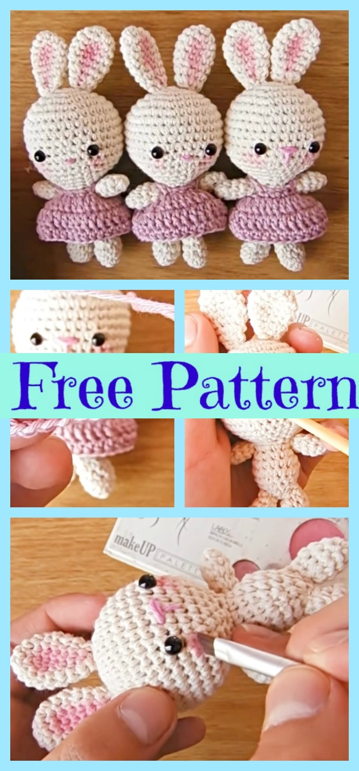 diy4ever-Crochet Little Bunnies Wearing Dresses - Free Pattern
