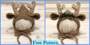 diy4ever-Crochet Newborn Deer Bonnet - Free Pattern