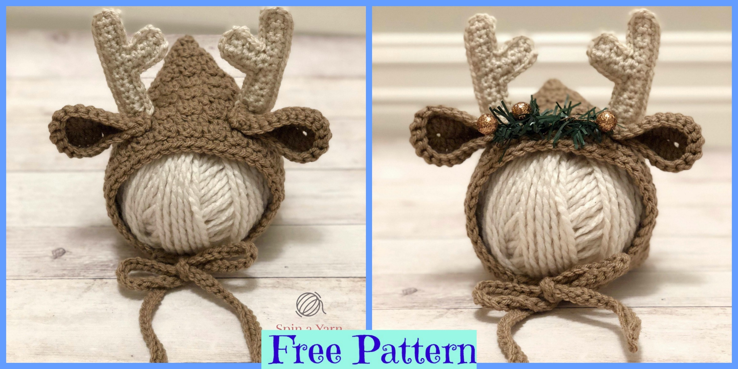 Crochet Newborn Deer Bonnet – Free Pattern