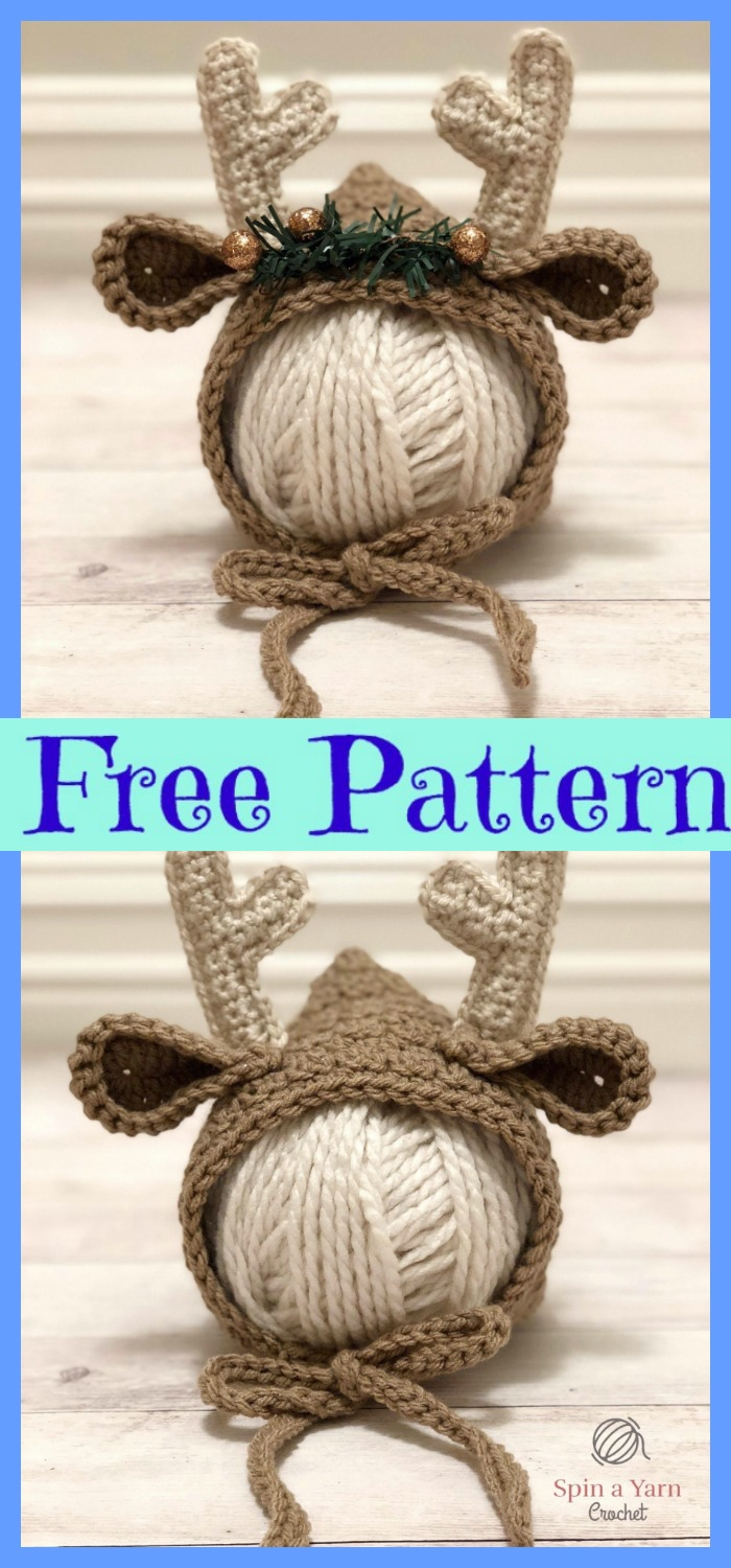 diy4ever-Crochet Newborn Deer Bonnet - Free Pattern