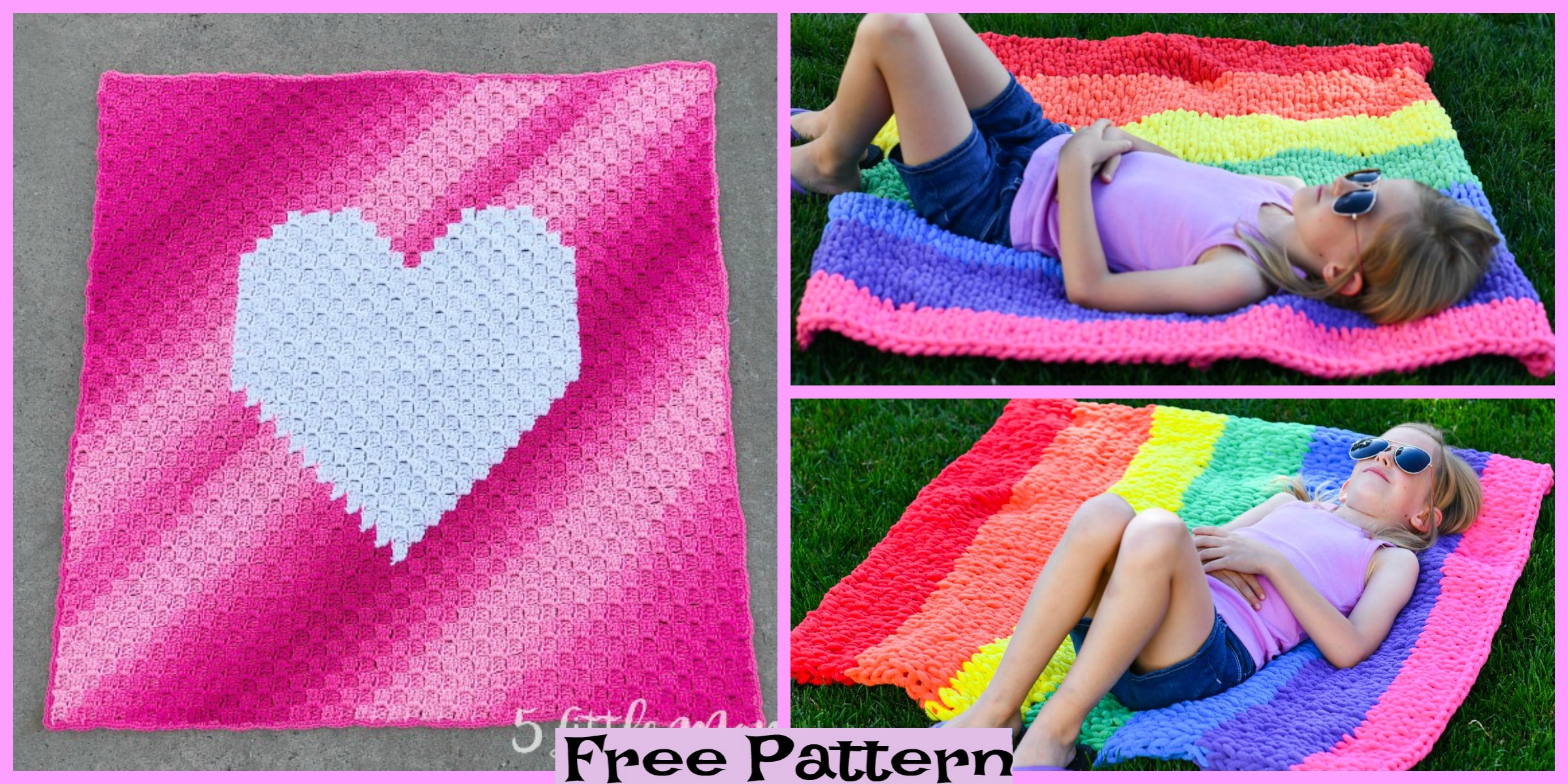 Crochet Rainbow Blankets – Free Patterns