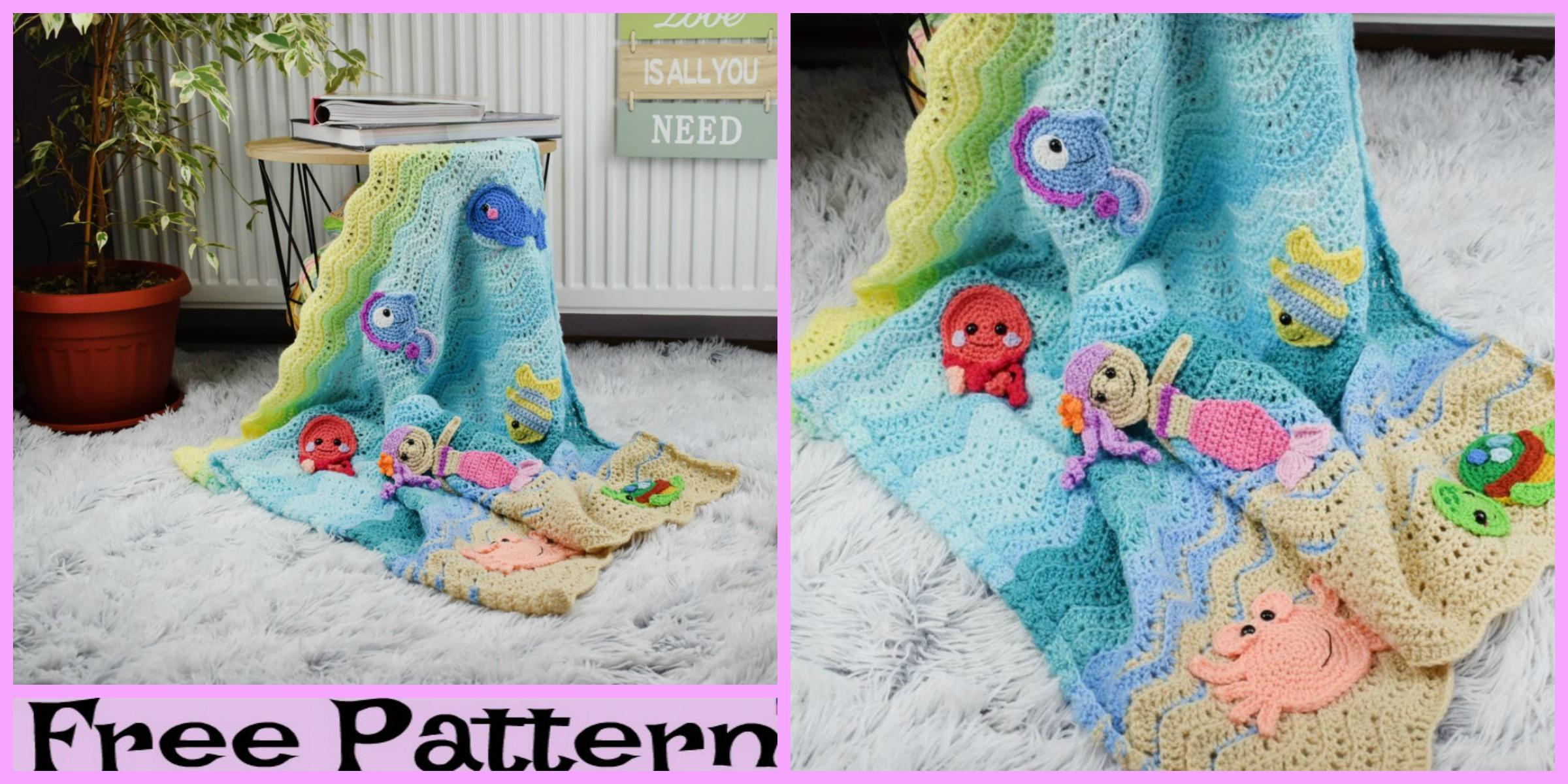Crochet Undersea Baby Blanket-  Free Pattern