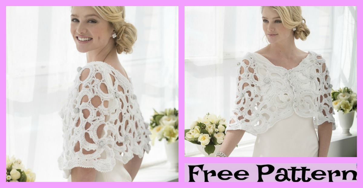 Pretty Crochet Wedding Capelet  – Free Pattern