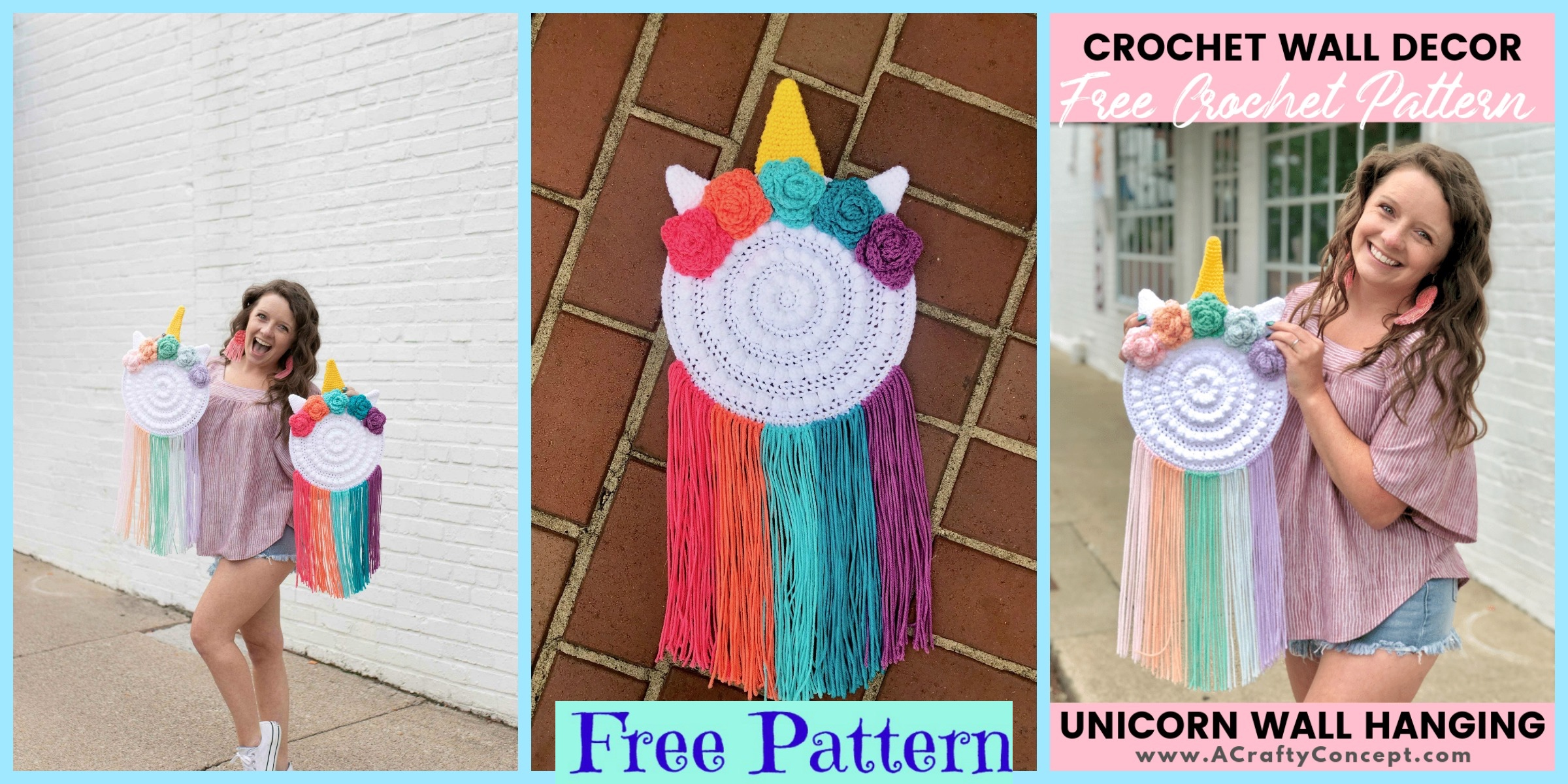 Crocheted Unicorn Wall Hanger – Free Pattern