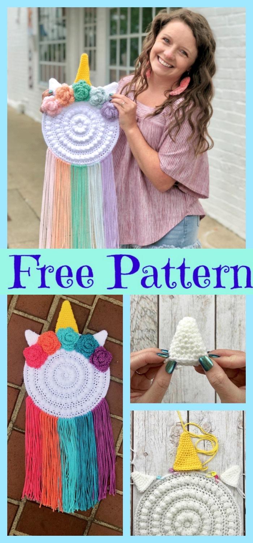 diy4ever-Crocheted Unicorn Wall Hanger - Free Pattern