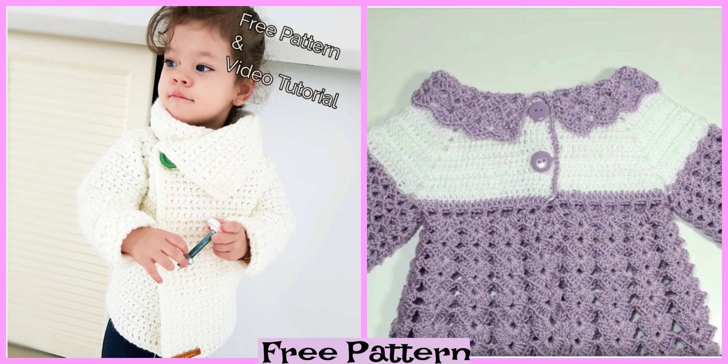 Cute Crochet Baby Sweater – Free Patterns
