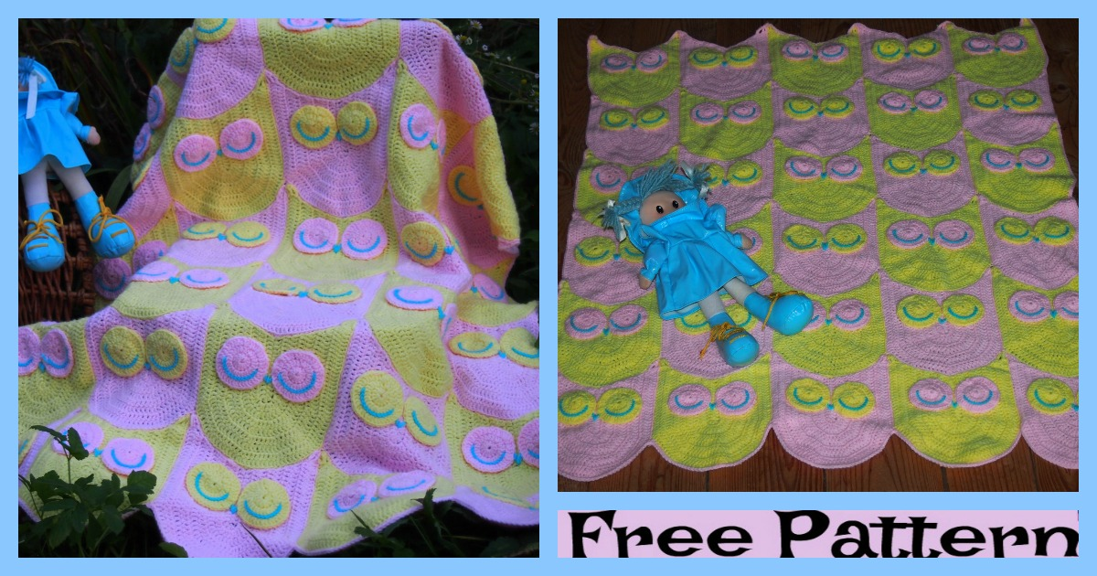 Cute Crochet Owl Blanket  – Free Pattern
