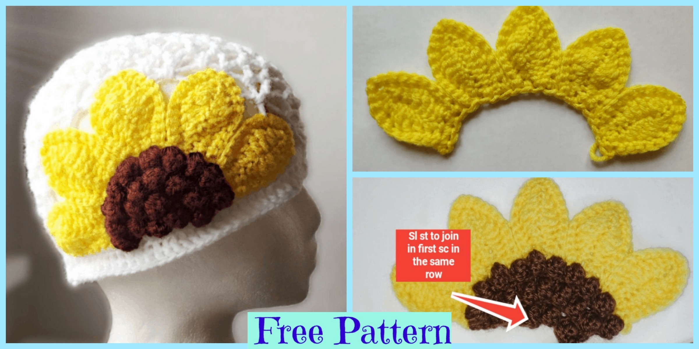 Cute Crochet Sunflower Hat – Free Pattern