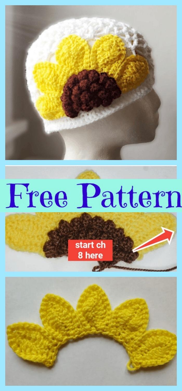 diy4ever-Cute Crochet Sunflower Hat - Free Pattern