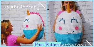 diy4ever-Giant Crochet Unicorn Pouf - Free Pattern