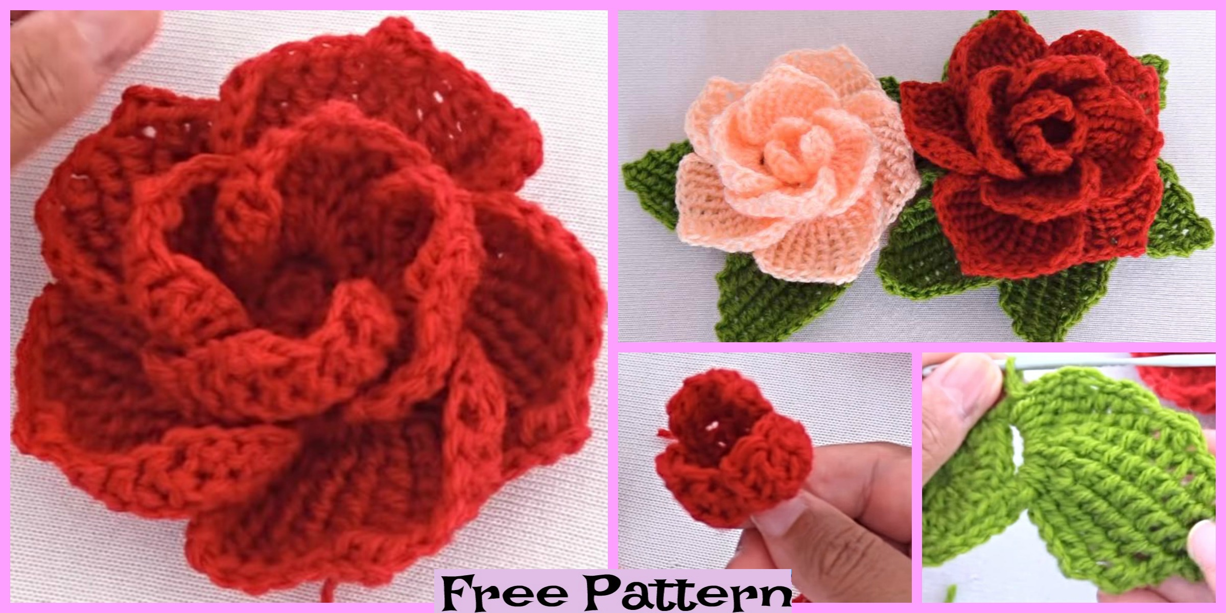 Pretty Crochet 3D Roses – Free Pattern