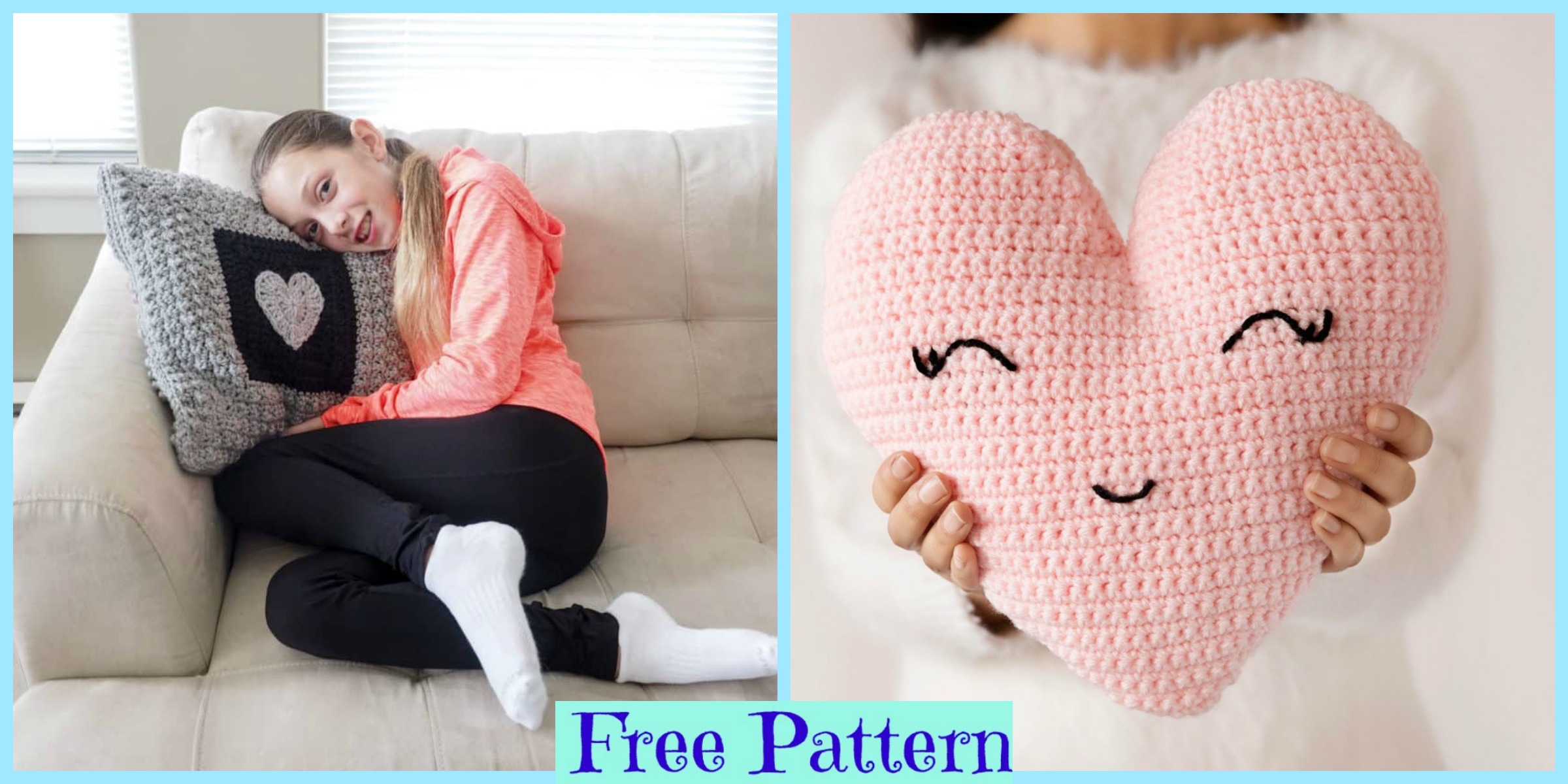 Sweet Crochet Heart Pillow – Free Pattern