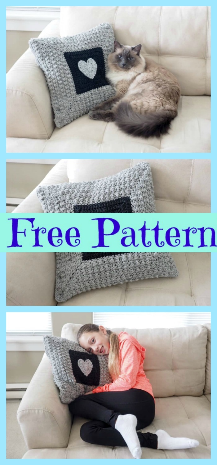 diy4ever- Sweet Crochet Heart Pillow - Free Pattern