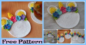 diy4ever-Unicorn Coaster Free crochet pattern